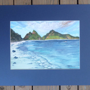 """Samoan Sea Shore - Seascape - Ocean painting - Large, Original watercolor painting matted and ready to frame in a standard 16"""" X 20"""" frame"""