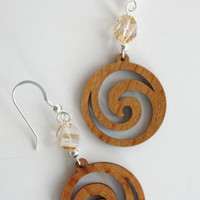 Swarovski golden crystal bead and wooden swirl Earrings / French Wire / Handmade Earrings / Fashion Jewelry/ Tan/ Gold