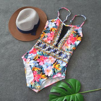 floral print bikini swimwear one piece