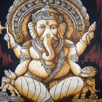 Sale Batik wall hanging Tapestry Elephant God Ethnic Ganesha Ganapati Home Decorative Christmas Gift