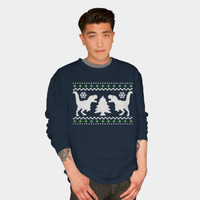 T Rex Ugly Holiday Sweater Sweatshirt By Robotface Design By Humans