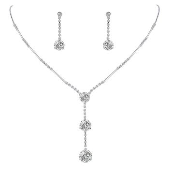 Women's Full Cubic Zirconia Long Ball Round Bridal Y-Necklace Earrings Set