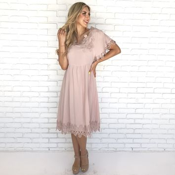 Pact Cold Shoulder Crochet Dress In Pink