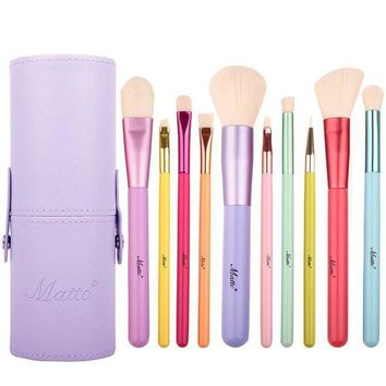 DCCKV2S Matto Makeup Brushes 10-Pieces Colorful Wood Handles Synthetic Hairs Makeup Brush Set with Cosmetic Brush Holder