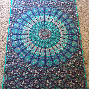 "Blue mandala peacock tapestry blanket/ Handmade tapestry quilt/ boho chic bohemian gypsy blue and teal twin blanket size 50 1/2"" x 82"""