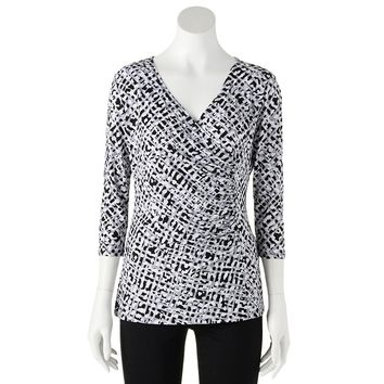 Dana Buchman Printed Faux-Wrap Top