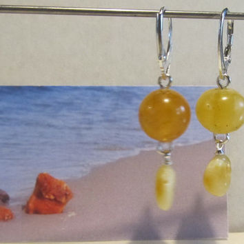 100% Natural Baltic Amber Huge Earrings 4.4 gr, Silver 925 yellow egg yolk butterscotch polished opaque round beads raw stones for adult