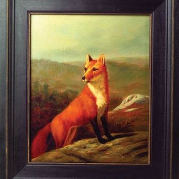 HIDING FROM HOUNDS ENGLISH PAINTING - Red Fox Print, Framed Fox Art