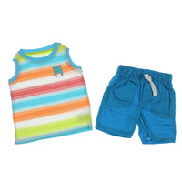 Kids Headquarters Striped Infant Boys Short Outfit