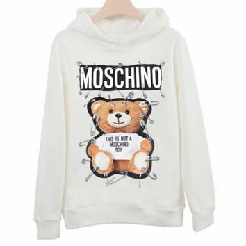Moschino 2018 autumn new pin bear couple models hooded sweater White
