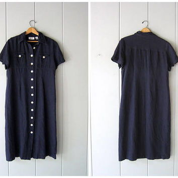 Navy Blue Linen Dress 90s Long Linen Dress Short Sleeve Frock Vintage Minimal Loose Fit Shirt Dress Casual Maxi Dress Womens Large XL