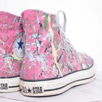 ICIKGQ8 custom made splatter painted vintage hightop converse sneakers adult size 7 1 2