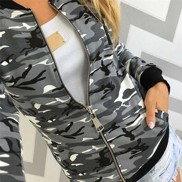 Women Camouflage Jacket Coat Autumn Winter Street Jacket Women Casual Jackets