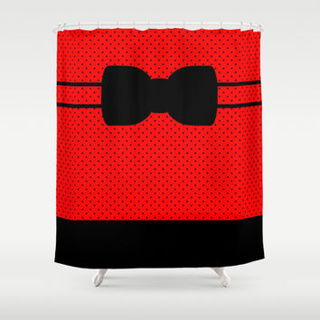 Red and Black Polka Dot and Stripe With Bow Shower Curtain by Kat Mun