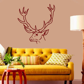 Wall Decals  Animals Decal Deer Antler Horns Fauna Safari Hunting Art Mural Bedroom Kids Living Room Kitchen Vinyl Sticker Home Decor ML117