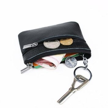 Women Men Leather Coin Purse Card Wallet Clutch Zipper Small Change Bag