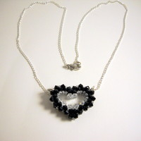 Swarovski Open Heart Black Necklace Made To Order