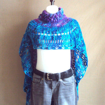 Bohemian Style Crochet Circle Poncgo Groovy Granny Poncho Afghan Poncho Capelet Shoulder Wrap Designer Clothes  Valentine's Day Gift