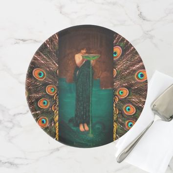 Art nouveau lady in peacock dress cake stand