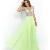 Lime Green Beaded Sheer Illusion Bodice Chiffon Dress