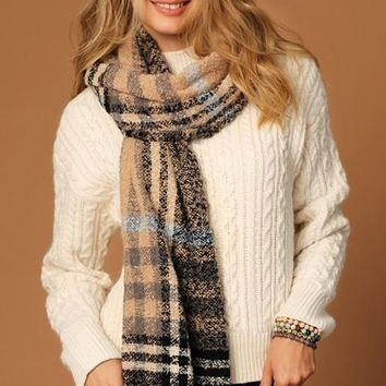Bold Plaid Woven Scarf - Beige Multi