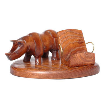 """New Wooden Smartphone Stand """"RHINO"""". IPhone 6/5/4S/4/3GS Wood Table Stand. Handcrafted Natural Ash-Tree. Office Decor - Smartphone Stand"""
