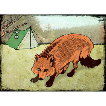 Camp Fox - Colorado Fox Tent Camping Color Print Refrigerator Art Magnet