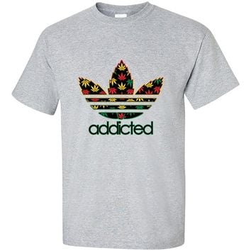 Addicted Weed Leaf pattern 420 Weed Marijuana smokers T-Shirt