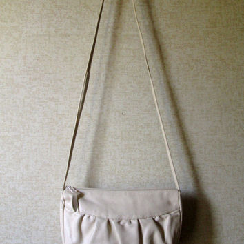 White Leather Shoulder Bag long strap purse bone ivory off white vintage 80s handbag ruched leather bag