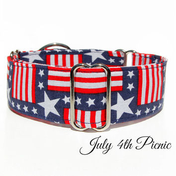 "American Dog Collar, USA Martingale Collar, 2"" or 1"" martingale, whippet collar, italian greyhound collar, masculine navy great dane collar"