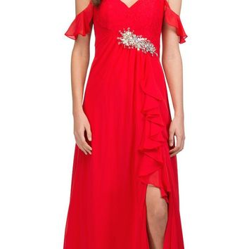 Empire Waist Long Formal Dress with Slit and Drapes Red
