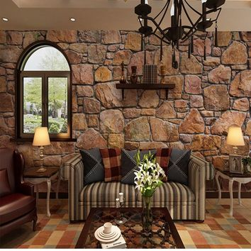 wallpaper 3d Retro nostalgia stone brick wall mural restaurant bathroom cafe living room custom wallpaper