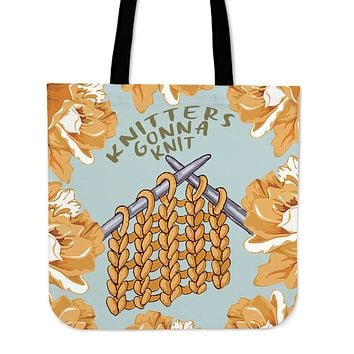 Knitters Gonna Knit Linen Tote Bag - Promo