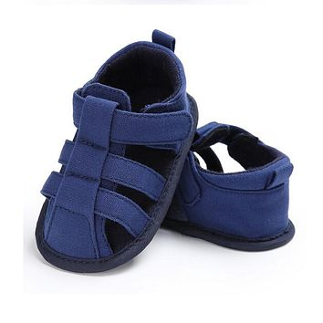 2018 Summer Baby Boys Dark Blue Canvas Soft Sole Crib Sneakers Sandals Shoes Pre Order