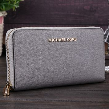 MK Michael Kors Women Leather Fashion Zipper Wallet Purse F-MYJSY-BB