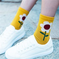 New Women Cute Sunflower Cotton Socks Retro Nation Long Socks Lady Vintage Plant Sun Flower Pattern Jacquard Cotton Socks