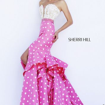 Sherri Hill 32236 Lace Bodice Front Slit Polka Dot Skirt Sweep Train