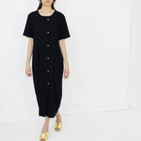 90's dress black minimalist color block oversized midi dress loose fit wrap dress MEDIUM M
