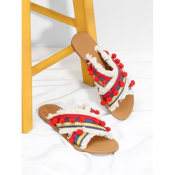 Sand Criss Cross Flat Sandals With Pom