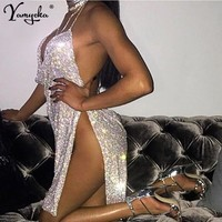 New Sexy Bling diamond Metal body chain Summer Dress Women Beach bandage bodycon dress Sequins Night club Party Dresses Vestidos