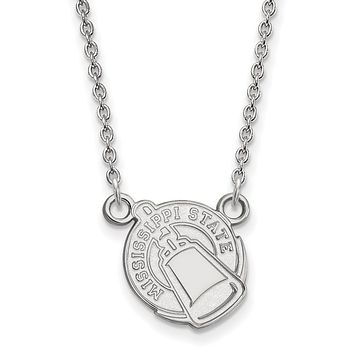 NCAA 14k White Gold Mississippi State Small Pendant Necklace