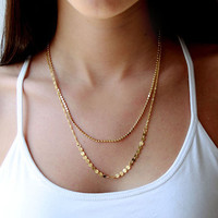 Double layer gold-plated fashion necklace