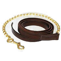 Chestnut Leather Lead w/ Brass Chain - 6023000CHES0