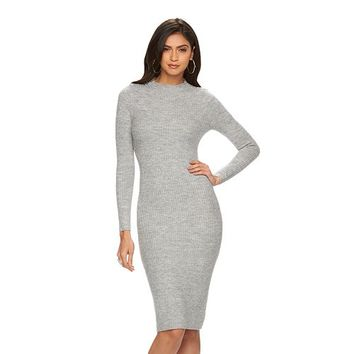 Women's Jennifer Lopez Ribbed Mockneck Sweaterdress