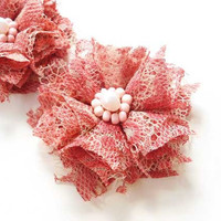 Coral Pink Lace Flowers Hair Clips, Lace Hair Accessories, Bridesmaid Hair Flower, Wedding Hair Pieces, Bridal Accessories, Brides, Gifts