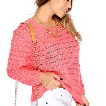 Casual Cute Coral Open Knit Long Sleeves Sweater Top