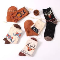 2016 new thick wool cotton crew socks autumn winter of Harajuku animal owl deer cat elephant brand lovely cute christmas