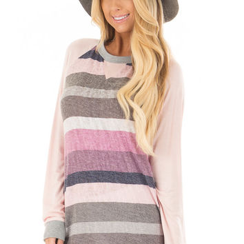 Multi Color Striped Long Sleeve Top