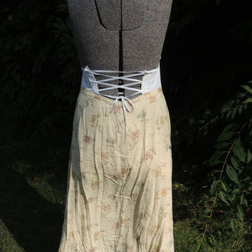 Paris Look / Lagenlook Prairie Chic Plus Sz 1X-3X Upcycled Boho Corset Back Dress / Bohemian Dress / Romantic Dress Handmade Clothing