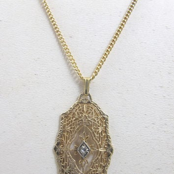 Filigree Art Deco Necklace Diamond 12K Yellow Gold Filled 1920s Jewelry Jewellery Bridal Necklace